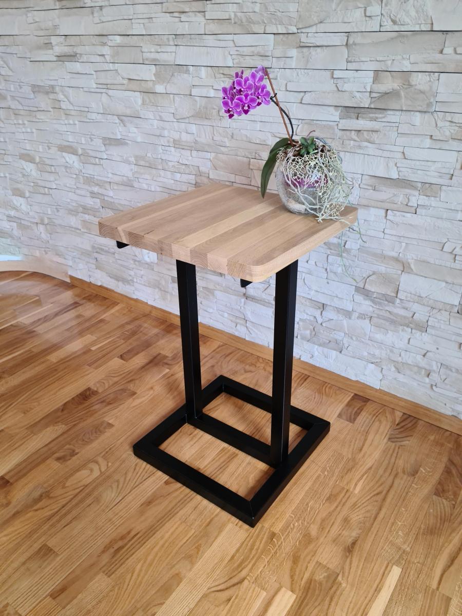 Meeting Coffee Table Club Table 50x50 Oak Table Top Black Steel Base Mat Loft